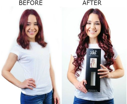 before and after red hair extensions