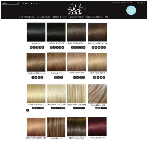 Zalas Favourite Hair Extension Colours Zala Clip In Hair Extensions