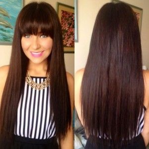 straight hair extensions dark brown