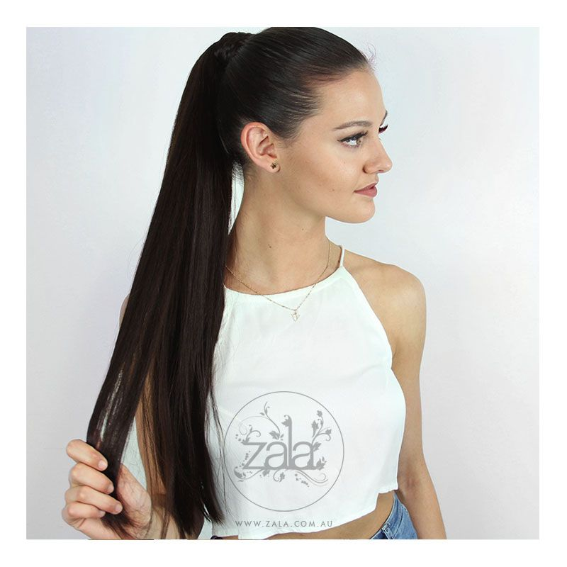 Our babe Veronica wears 22 inch ponytail extensions in Dark Chocolate #2 to add instant glam!