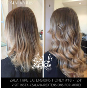 ZALA TAPE HAIR EXTENSIONS, HONEY BLONDE #18 - 24 INCH