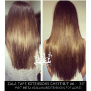 ZALA TAPE HAIR EXTENSIONS, CHESTNUT BROWN #6  - 24 INCH