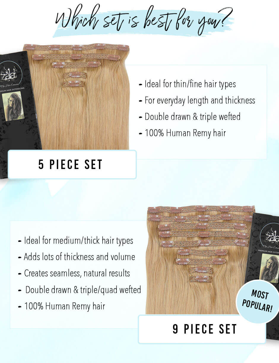 Choosing Zala 5 Piece Set Or 9 Piece Set Clip In Hair Extensions