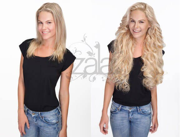 Before and after blonde hair extensions