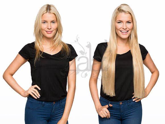 Before and after blonde 18/613 highlighted hair extensions