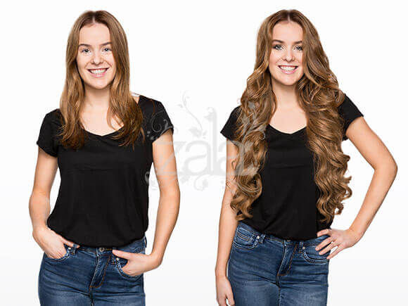Before and after clip in hair extensions gallery short to long before and after zala dark blonde hair extensions before pmusecretfo Choice Image