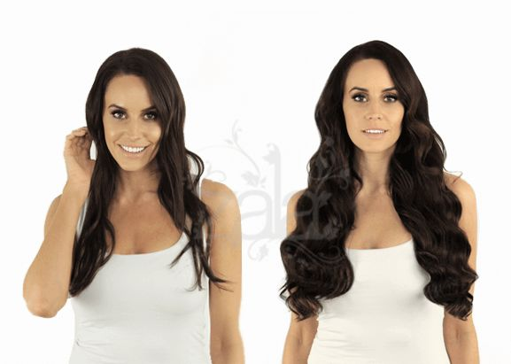 Dark Brown hair before and after hair extensions