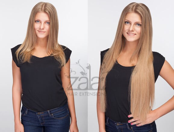 Before and after ZALA Dark Blonde hair extensions