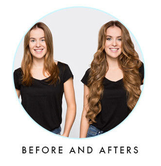 Before & after clip hair extensions by ZALA
