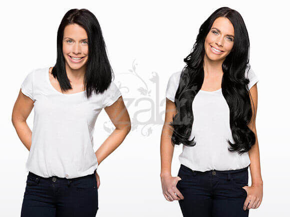 Jet Black 24 Inch Clip in Hair Extensions Before & After