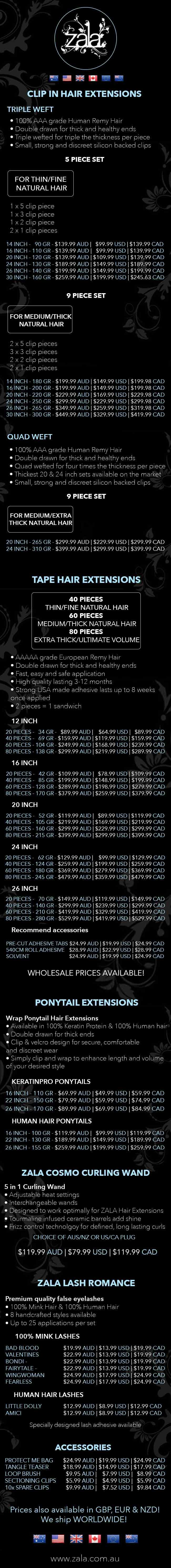 zala product price list