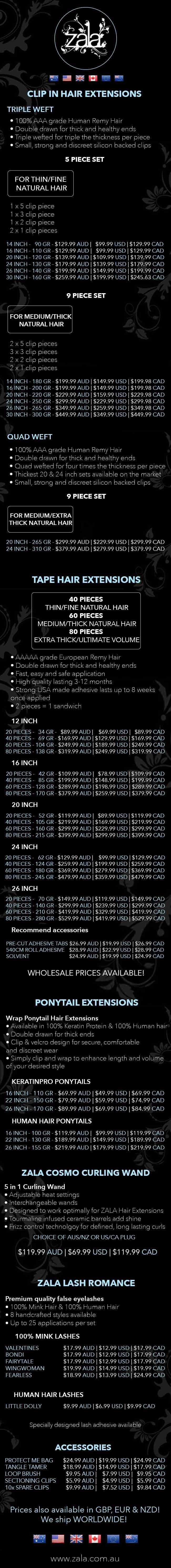 zala product price list