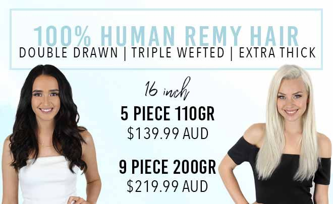 16 inch clip in hair extensions remy human