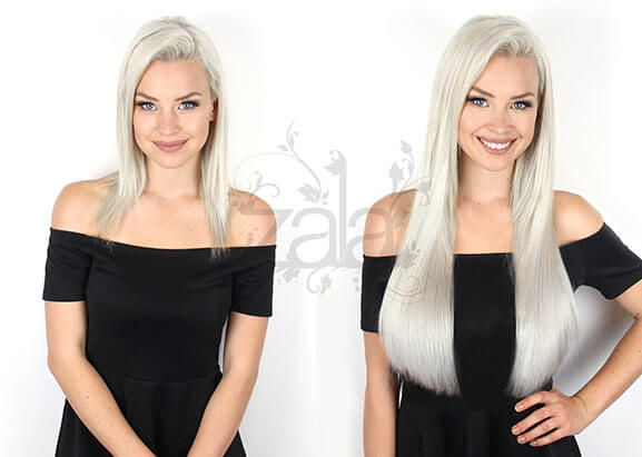 Before and After platinum blonde hair extensions