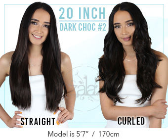 "Dark Choc Brown #2 Clip In Hair Extensions - 20"" 100% Human Remy Hair 120/220/265g"