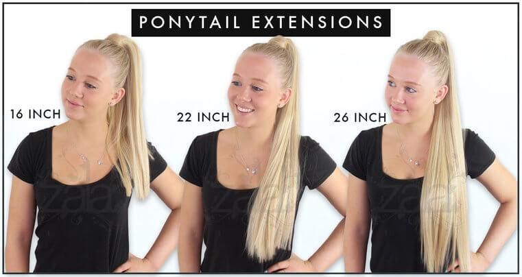 Ponytail hair extensions length guide front